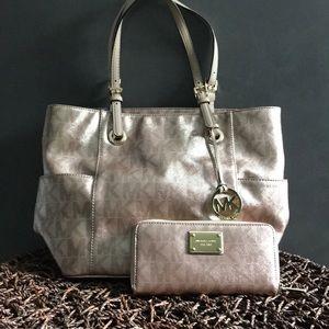 Rose gold Michael Kors bag & wallet